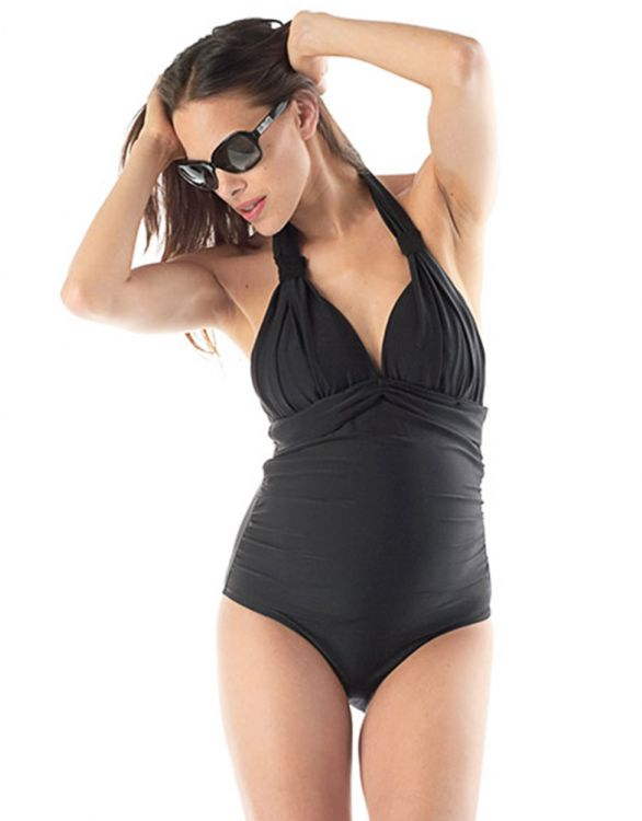 Image for Black Halter Neck Maternity Swimsuit