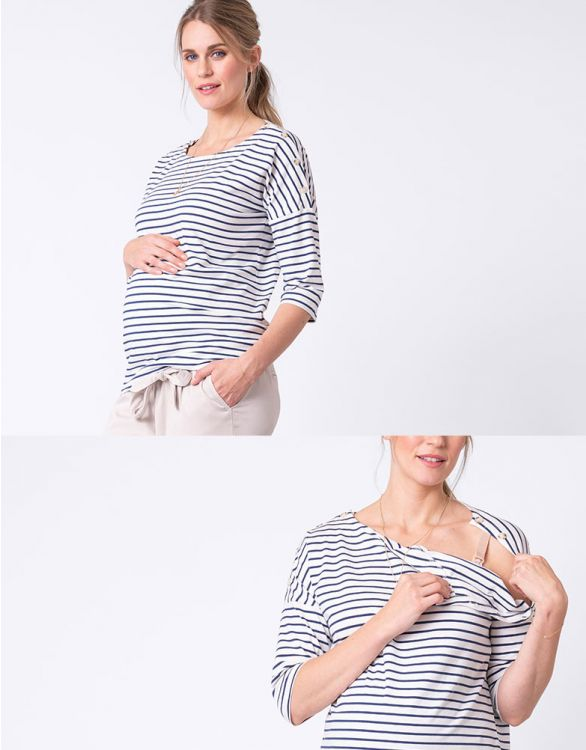 Image for Cotton Striped Maternity & Nursing Top