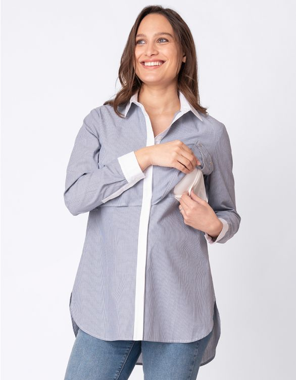 Image for Pinstripe Cotton Maternity & Nursing Blouse