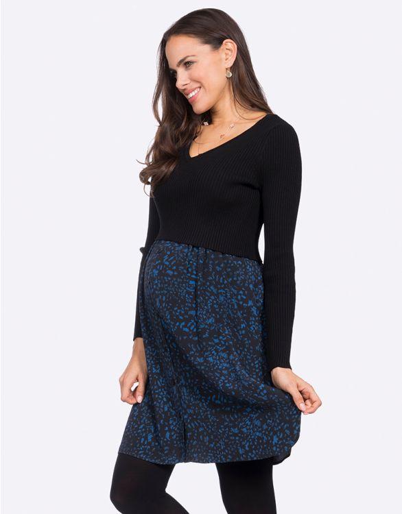 Image pour Robe grossesse et allaitement en maille – Bleu marine