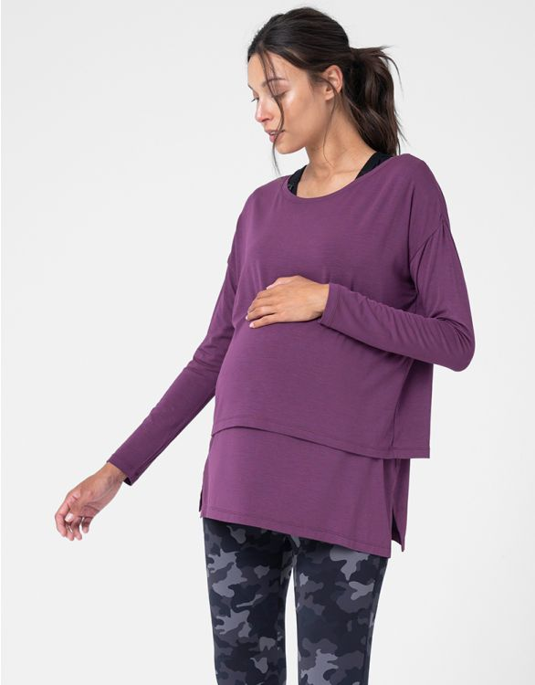Image pour Berry Modal Maternity & Nursing Top
