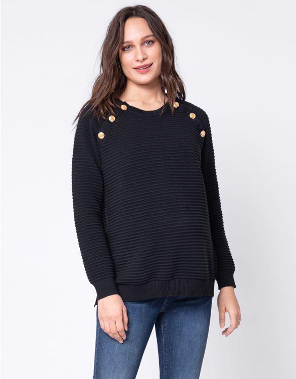 Image pour Pull grossesse et allaitement en coton côtelé – Noir