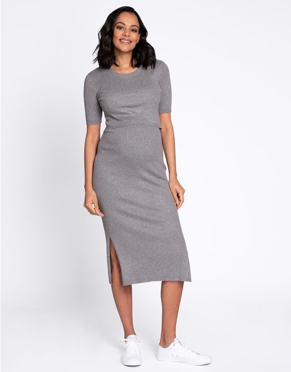 Image for Grey Ribbed Knit Maternity & Nursing Midi Dress