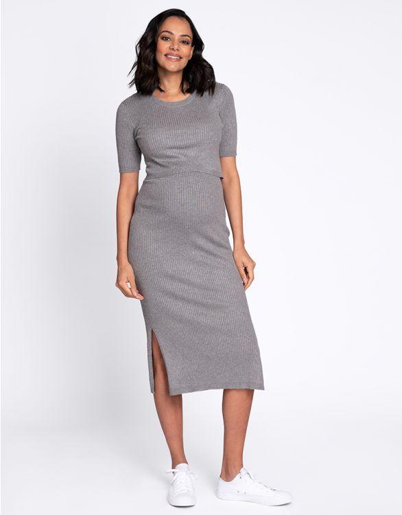 Image pour Robe grossesse et allaitement en maille côtelée – Gris