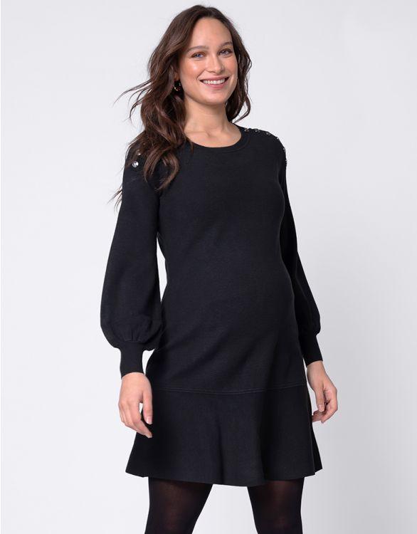 Image for Black Blouson Sleeve Maternity & Nursing Dress