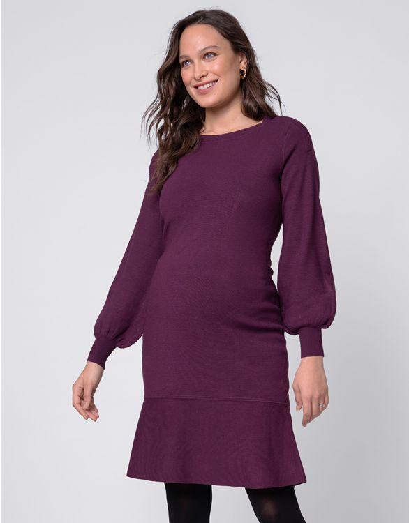 Image for Plum Blouson Sleeve Maternity & Nursing Dress