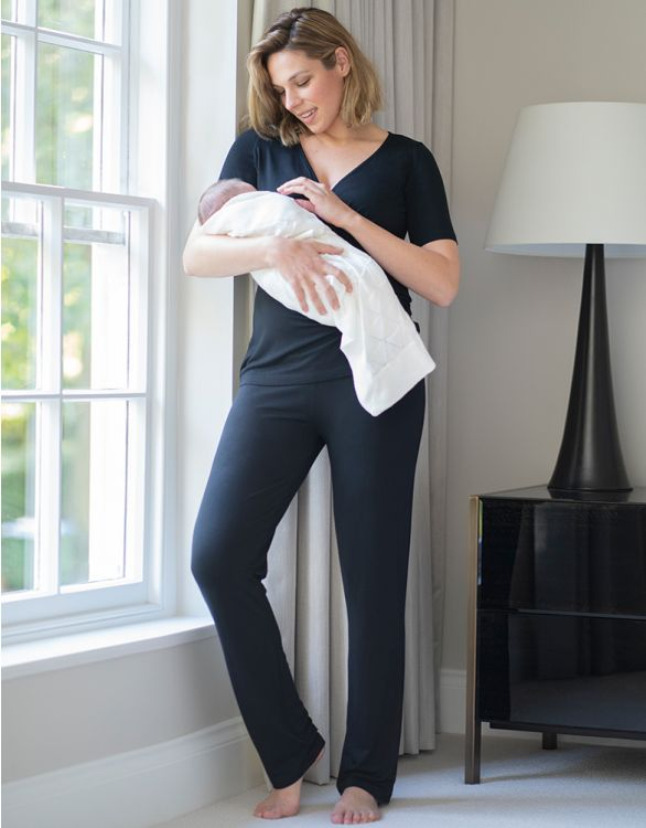 Image for Black Bamboo Maternity Loungwear Set