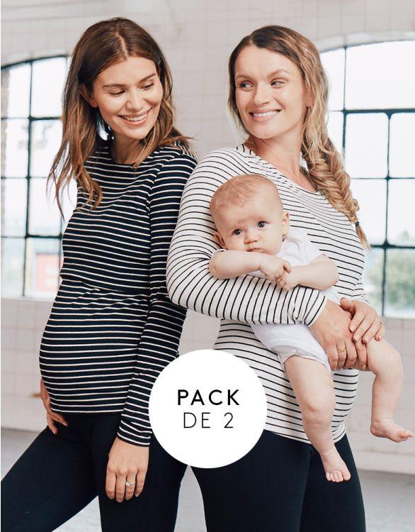 Imagen de Tops premamá y lactancia a rayas  – Pack de 2