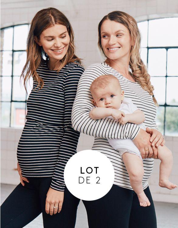 Image pour Hauts grossesse et allaitement à rayures – Lot de 2
