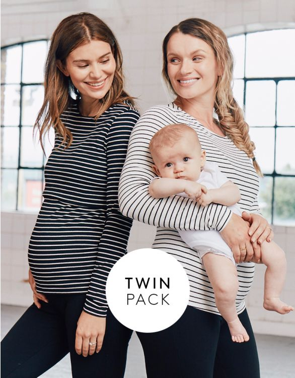 Image for Striped Maternity & Nursing Tops – Twin Pack
