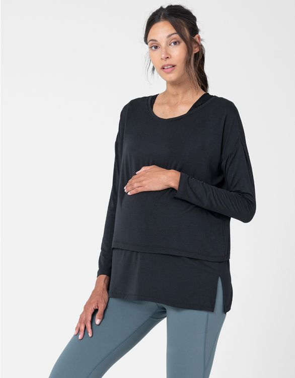 Image pour Black Modal Maternity & Nursing Top