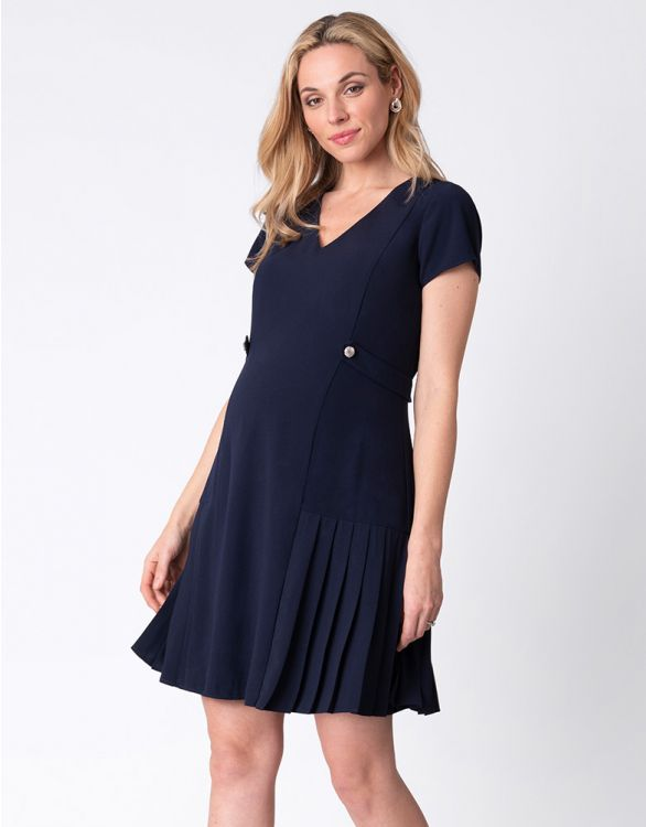 Image for Navy Blue Pleated Hem Maternity Dress