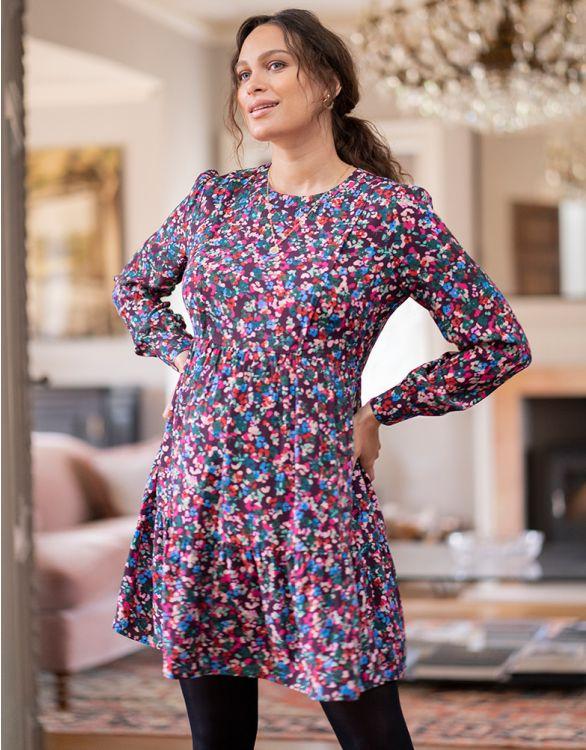Imagen de Vestido premamá y lactancia estampado floral de manga larga