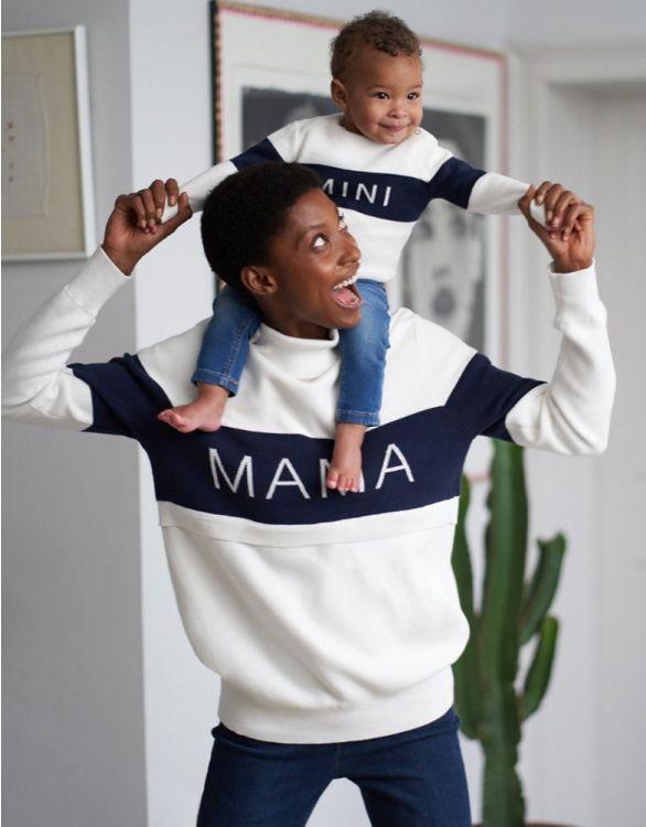 Image pour Pulls Mama et Mini en coton – Blanc/Bleu marine