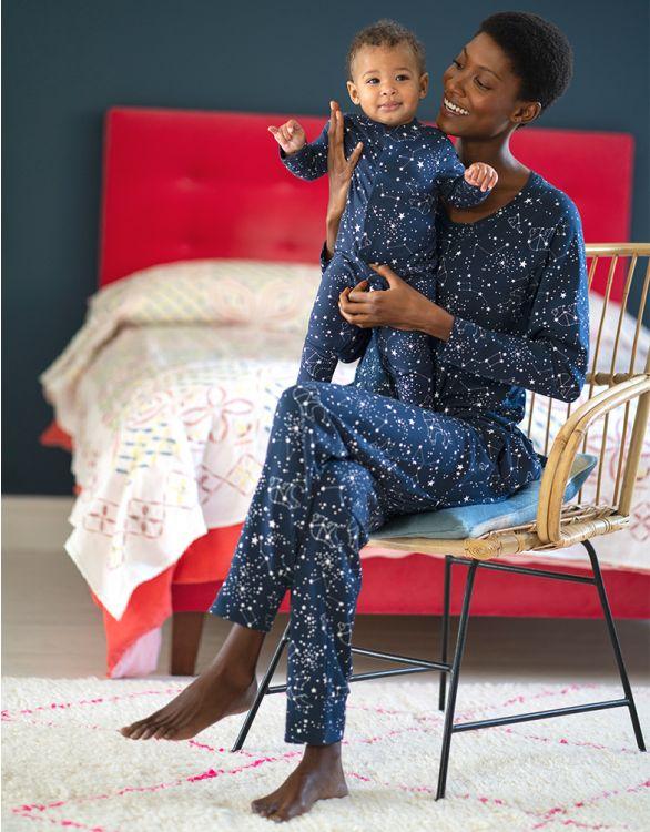 Image pour Pyjamas Mama et Mini en coton – Bleu marine