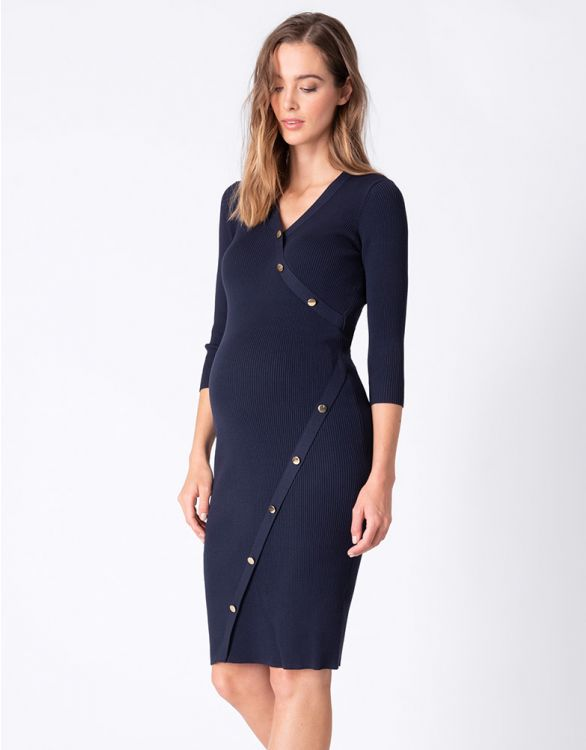 Image for Ribbed Knit Button Detail Maternity Dress