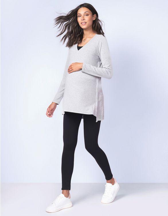 Image pour Haut grossesse et allaitement en maille côtelé – Gris chiné