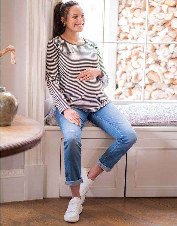 Image for Mama Striped Maternity & Nursing Top