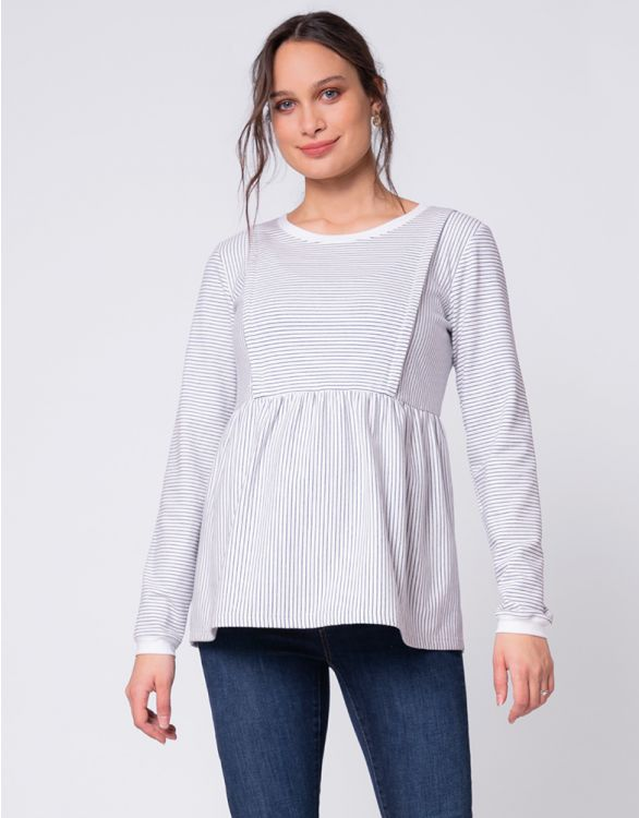 Image pour White Stripe Cotton Maternity & Nursing Top