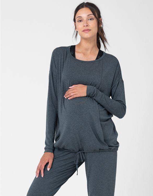 Image pour Haut loungewear grossesse et allaitement – Gris foncé