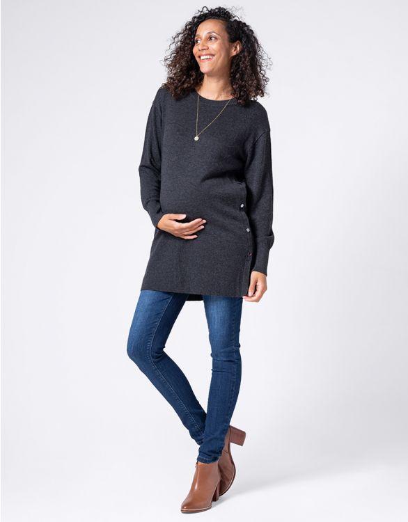 Image pour Tunique grossesse et allaitement en merino et coton – Gris foncé