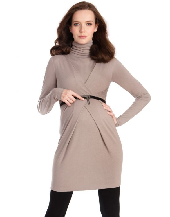Image for Taupe Roll Neck Crossover Maternity Tunic
