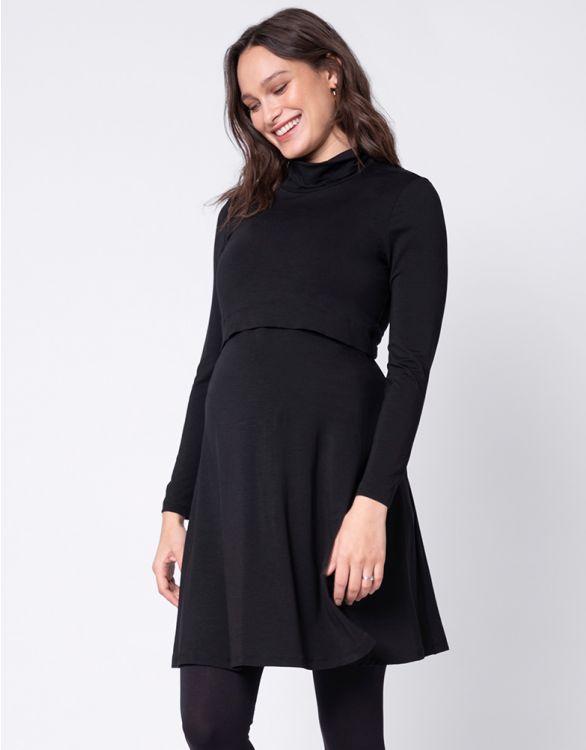 Image pour Robe grossesse et allaitement à col roulé – Noir