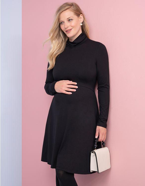 Imagen de Vestido premamá y lactancia de cuello vuelto negro