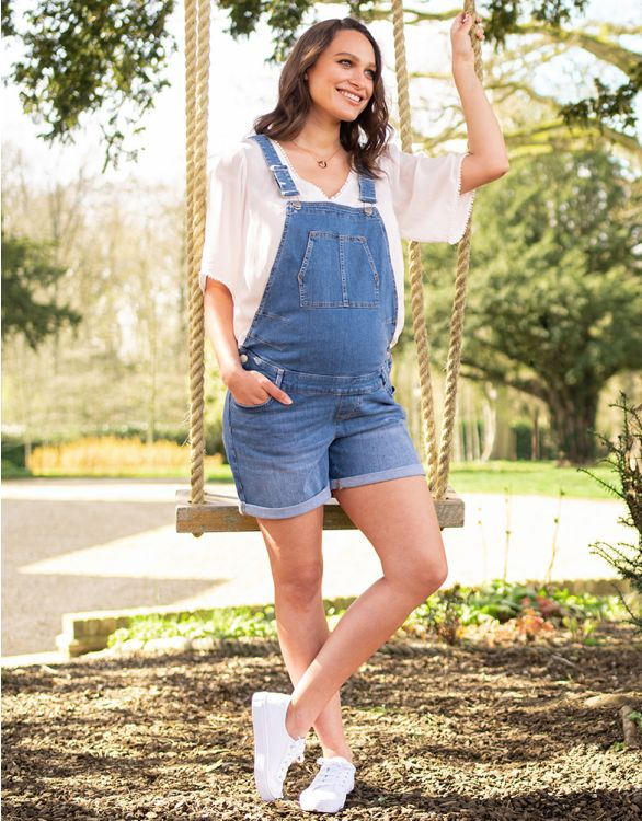 Image for Cotton Maternity Short Overalls