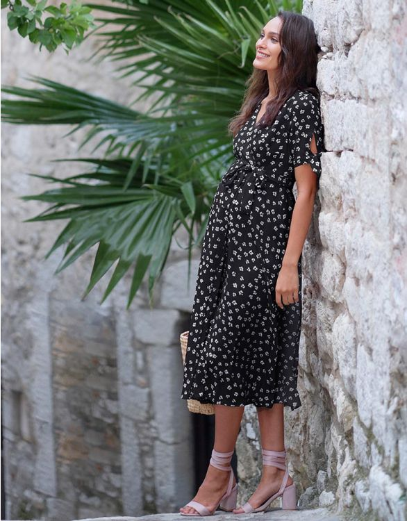 Image for Black Midi Wrap Maternity Dress