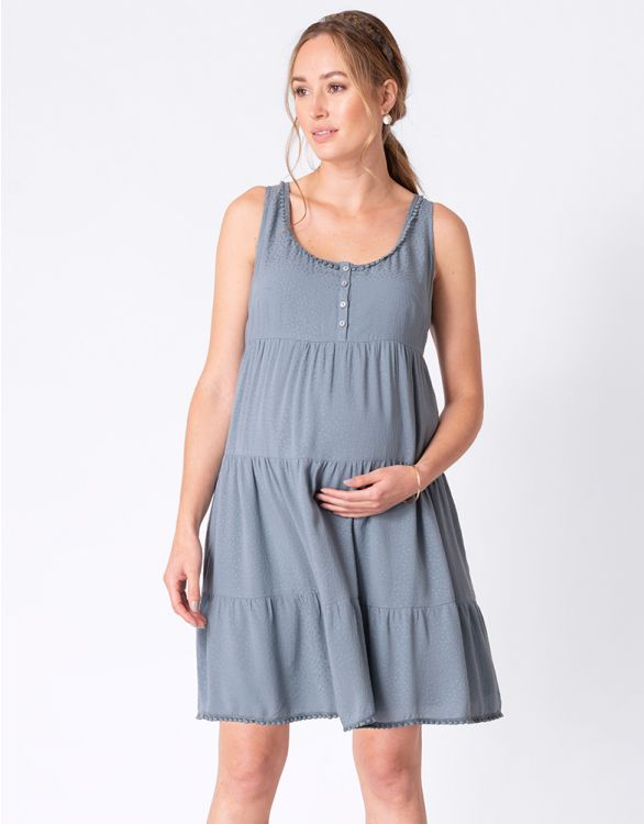 Image for Tiered Sky Blue Maternity Dress