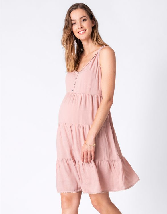 Image pour Tiered Rose Pink Maternity Dress