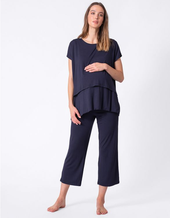 Image for Navy Blue Cropped Maternity & Nursing Pajamas