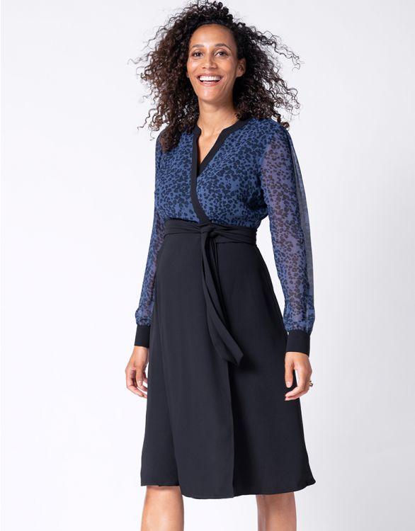 Image for Blue & Black Maternity Wrap Dress