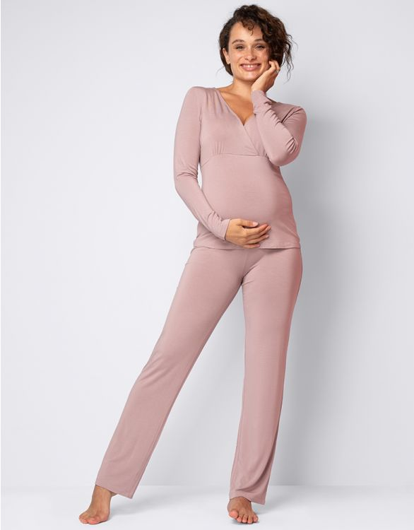 Image for Taupe Bamboo Lounge Maternity Pyjamas