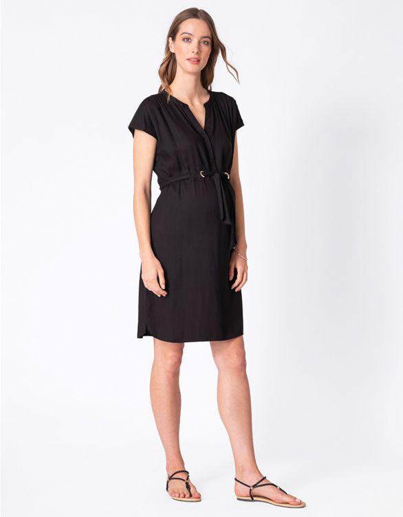 Image for Black Woven Maternity & Nursing Dress