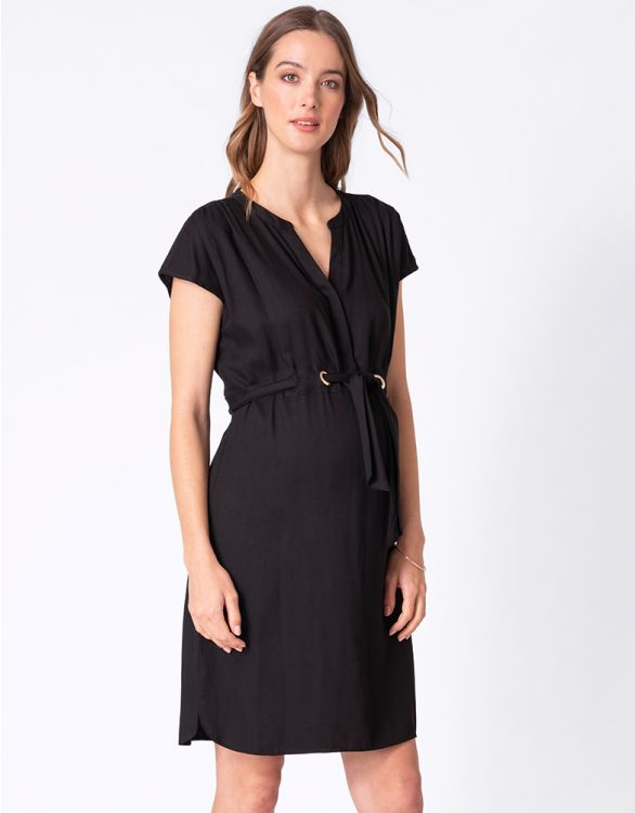 Image for Black Woven Maternity & Nursing Dress