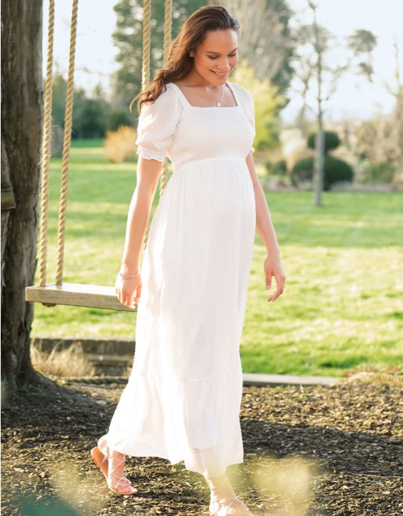 Image for White Shirred Maternity Maxi Dress