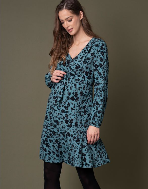 Image for Turquoise Front Tie Maternity Dress