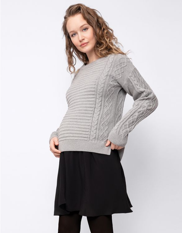 Image for Grey Cable Knit Maternity & Nursing Tunic