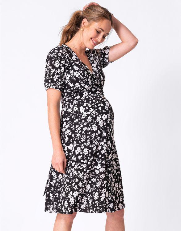 Image for Black Floral Print Maternity & Nursing Dress