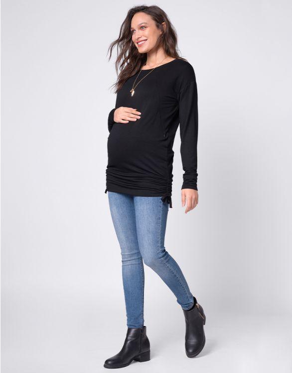 Image pour Haut grossesse et allaitement avec cordons – Noir