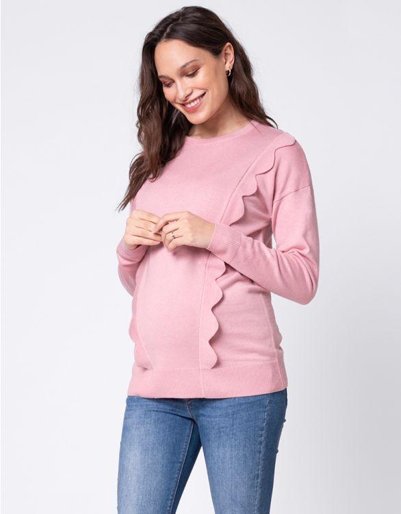 Image pour Pull grossesse et allaitement à volants – Rose