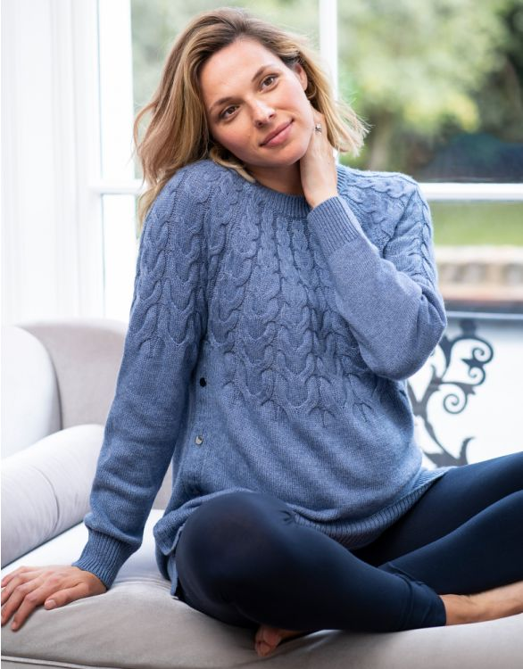 Image for Cornflower Blue Maternity & Nursing Jumper