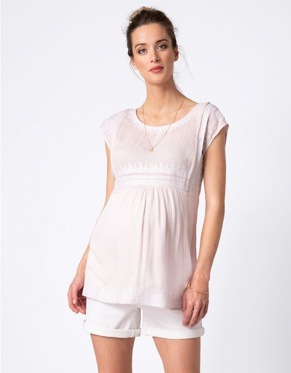 Image for Blush Embroidered Maternity & Nursing Top