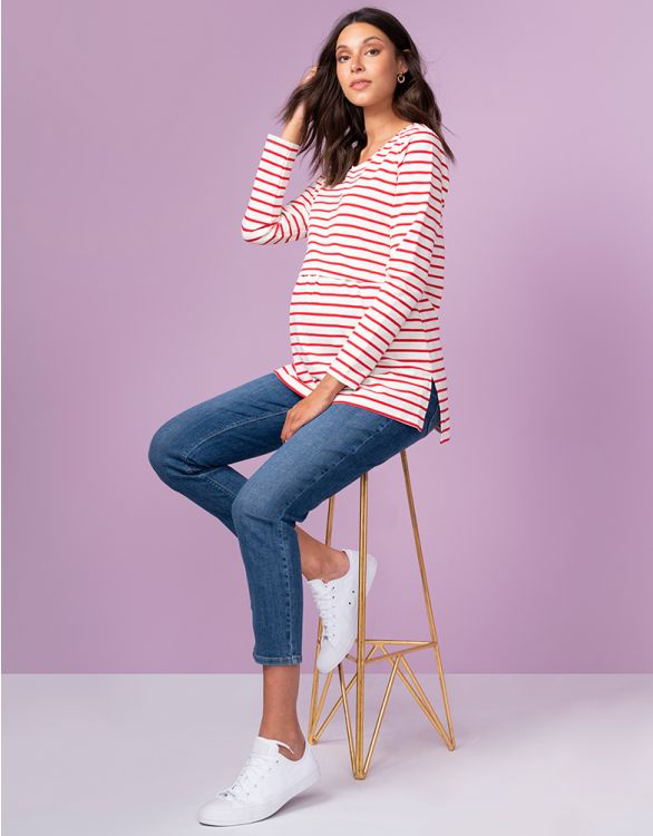 Image pour Red Stripe Cotton Maternity & Nursing Top