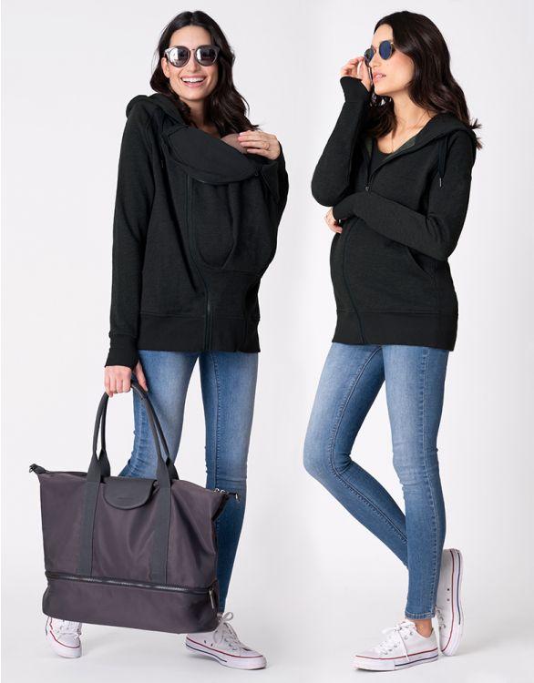 Bild für Cotton Blend Black 3 in 1 Maternity Hoodie