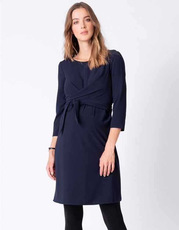 Image for Navy Blue Wrap Detail Maternity & Nursing Dress