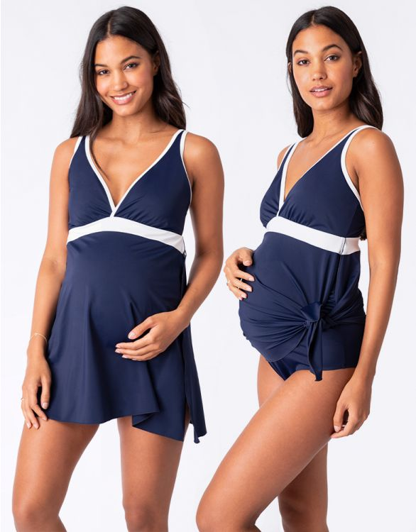 Image for Nautical Maternity Swimsuit with Skirt
