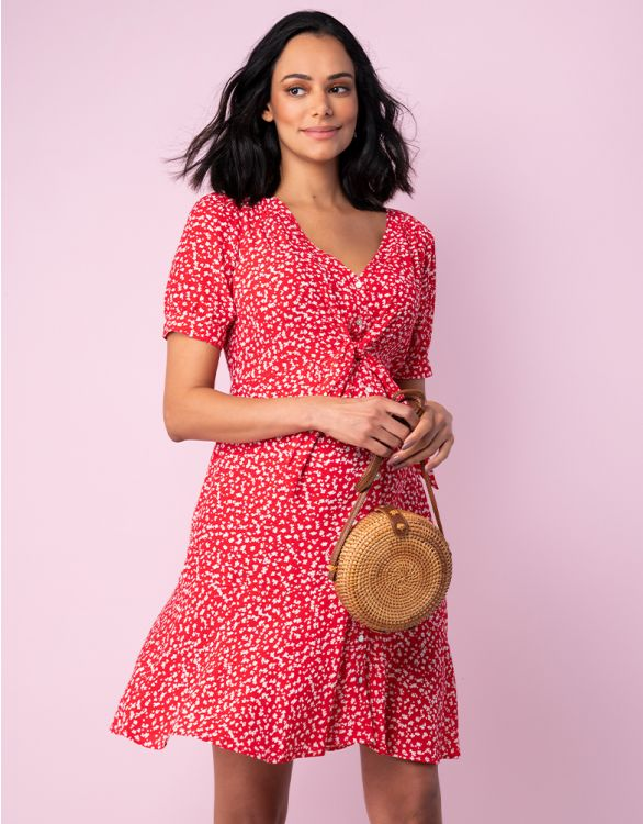 Image for Red Front Tie Maternity Dress